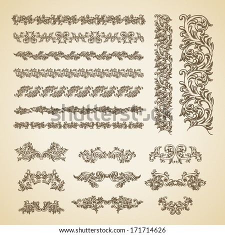 Set of vector vintage baroque engraving floral scroll filigree design - stock vector