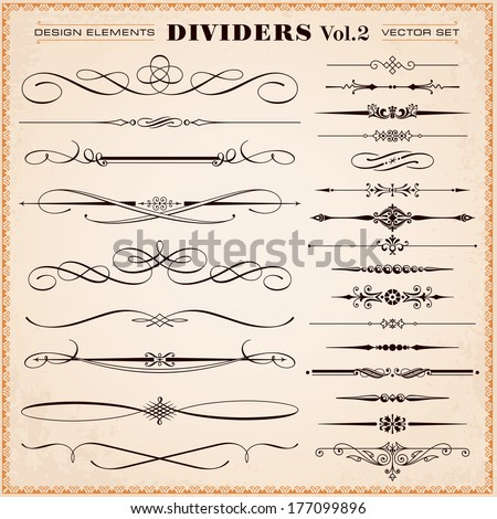 Set of vector vintage calligraphic design elements and page decoration, dividers and dashes - stock vector
