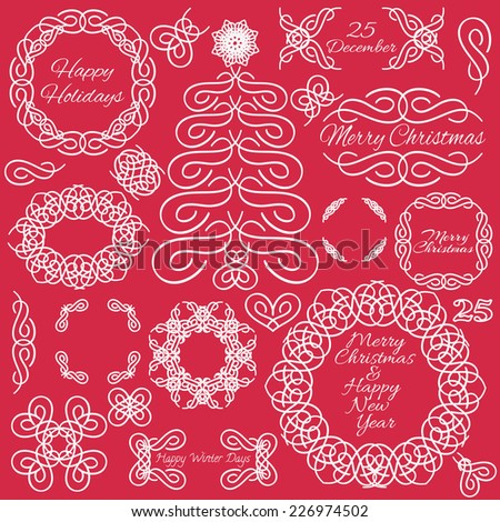 Set of vector vintage calligraphic design elements. Hand-drawn Xmas calligraphic and typographic elements. Christmas & New Year vector illustration. - stock vector