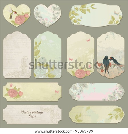 Set of vector vintage cards with birds, butterflies and flowers