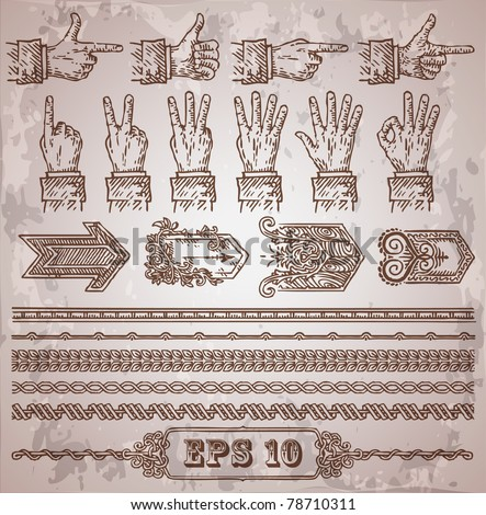set of vector vintage design elements: hands, arrows, borders - stock vector