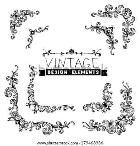 Set of vector vintage design elements. Vintage corners with retro floral ornament in antique baroque style.  - stock vector