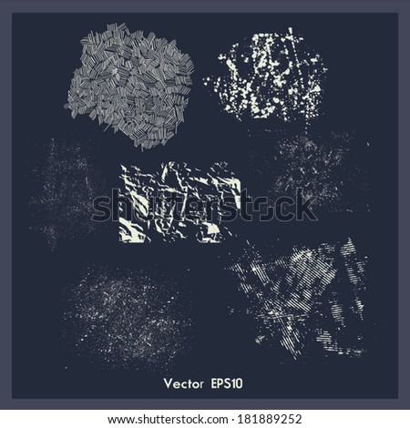 Set of vector vintage effects. Collection with creased and worn paper, stains, smudges, dirt and scratches. - stock vector