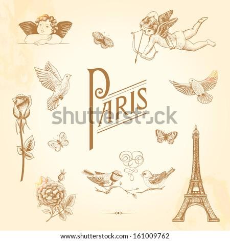 Set of vector vintage elements for design. Paris, love, romance. Butterflies, cupids, roses, birds, Eiffel Tower. - stock vector