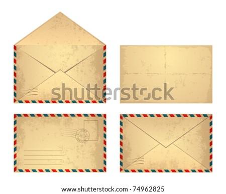 Set of vector vintage envelope. - stock vector