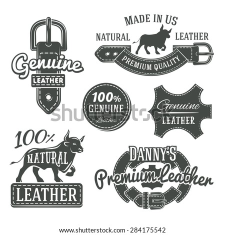Set of vector vintage leather belt logo designs, retro quality labels. Monochrome genuine leather illustration - stock vector