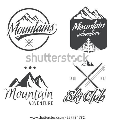 "Set of vector vintage mountain themed logos. ""Ski club"" badge, mountain adventure labels. - stock vector"
