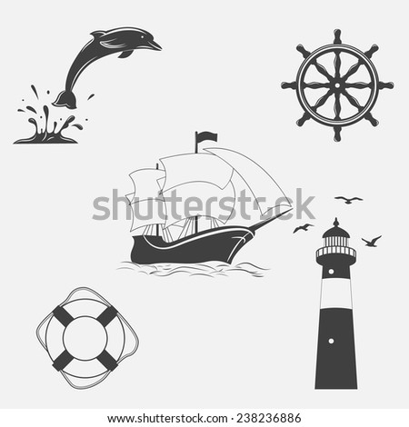 Set of vector vintage patterns on nautical theme. Icons and design elements. - stock vector