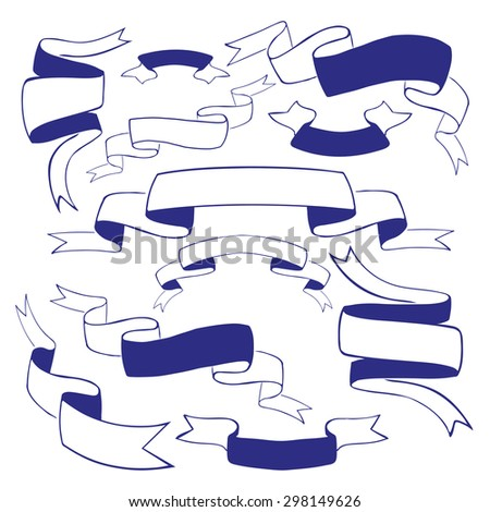 Set of vector vintage ribbons isolated on white  - stock vector