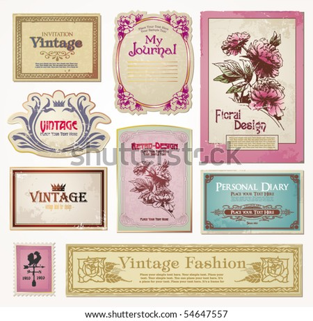 set of vector vintage tags - stock vector