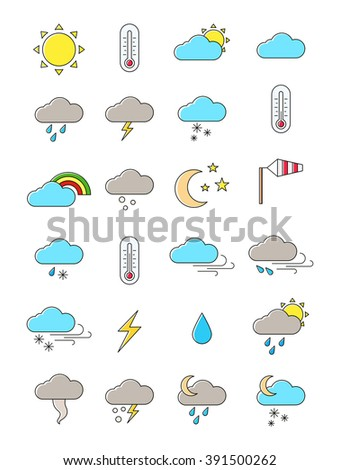 Set of 24 vector weather forecast icons