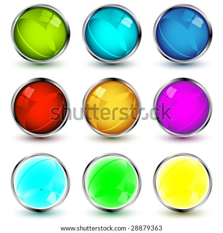 set of vector web buttons with shadows over white background