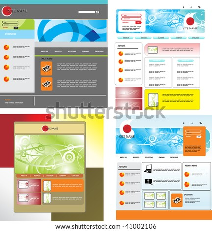 Set of vector web template - stock vector