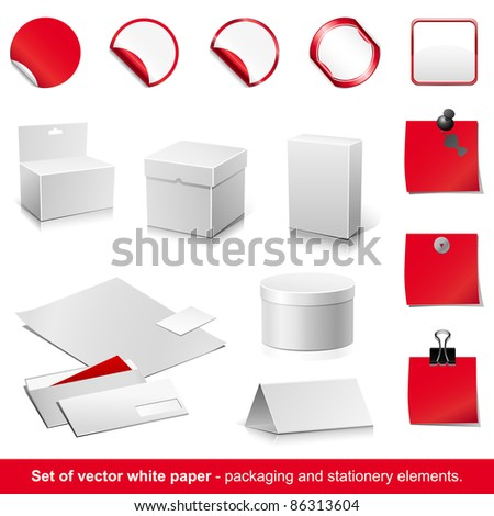 Set of vector white and red paper - packaging and stationery elements. - stock vector