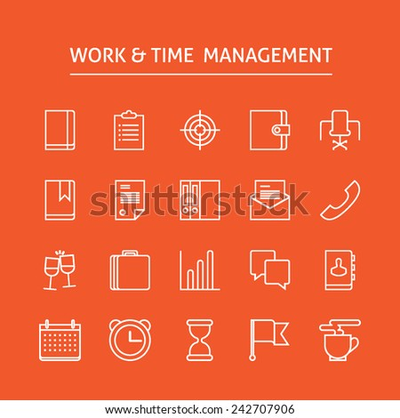 Set of vector white line icons for productivity, timing, time management, work schedule, planning working day, events, trips, expenses, reaching goals isolated on bright background  - stock vector
