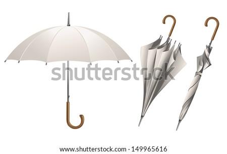 Set of vector white umbrellas - stock vector