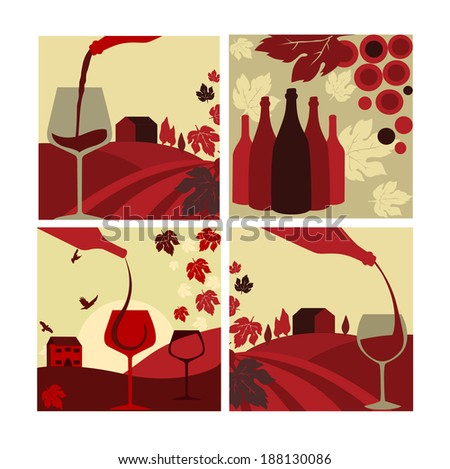 set of vector wine concept. Flat style - stock vector