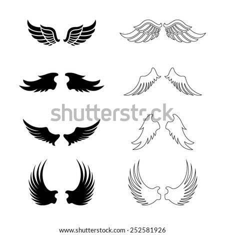 Set of vector wings - decorative design elements - black silhouettes - stock vector
