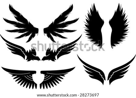 set of vector wings design elements - stock vector