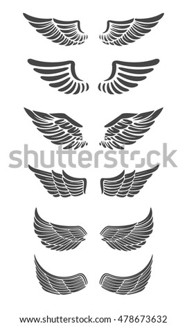 Set of vector wings isolated on white background. Design elements for logo, label, emblem, sign, brand mark. Vector illustration.