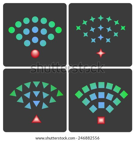 Set of vector wireless and wifi icons for remote access and communication via radio waves - stock vector