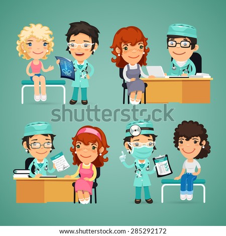 Set of Vector Women Having Medical Consultation in Doctor's Office. In the EPS file, each element is grouped separately - stock vector