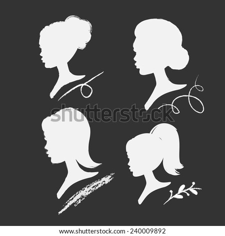 set of vector women silhouettes with different hairstyle - stock vector