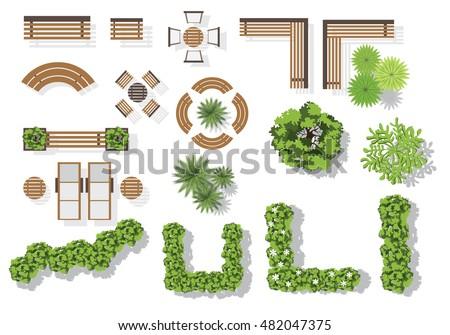 Set Vector Wooden Benches Treetop Symbols Immagine Vettoriale Stock 482047375 Shutterstock