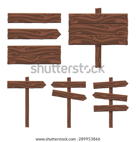 Set of vector wooden sign on a white background