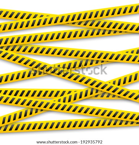 set of vector yellow tapes with black warning stripes - stock vector