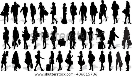 Set of 38 vectors silhouettes of people in action - stock vector