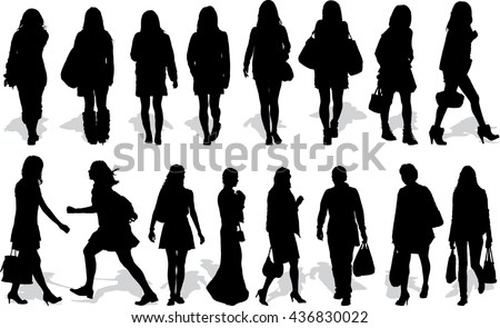 Set of 16 vectors silhouettes of people in action - stock vector