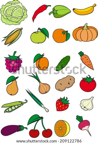 Set of vegetables, fruits and berries isolated on white background