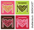 set of vegetarian food cards. vector illustration - stock vector