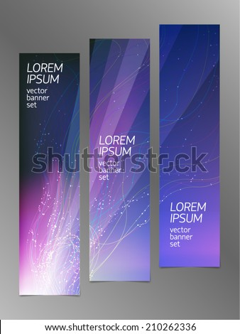 Set of vertical abstract vector banners with light beams, blast, floating color curves with dots, and irradiated film gradient effect. For high technology and business design projects. - stock vector