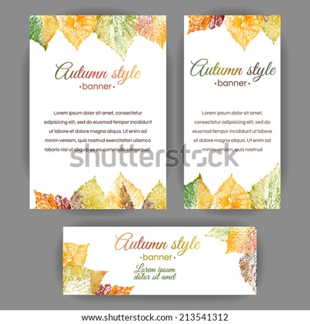 Set of vertical and horizontal banners. Watercolor colorful leaves. Vector cards design. - stock vector