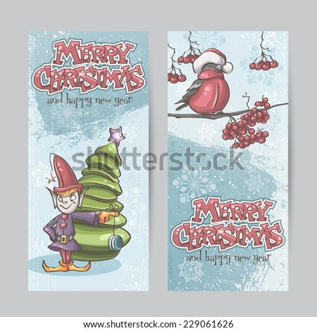 Set of vertical banners for Christmas and the new year with a picture of an elf and Bullfinch on a branch - stock vector