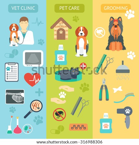 Set of vertical banners. Pet care. Vet clinic. Grooming. Flat design. Vector illustration - stock vector
