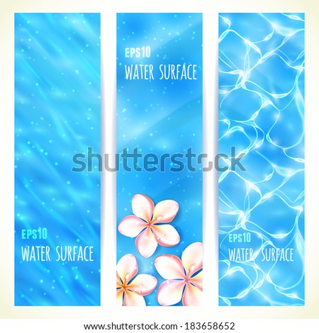 Set of Vertical Banners with Water Surface. Vector illustration, eps10, editable. - stock vector