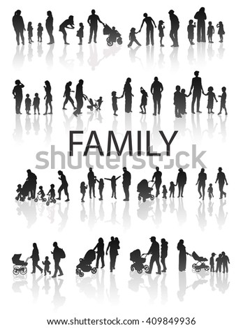 Set of very detailed Family Silhouettes: Men's, Women's and Children. Vector. - stock vector
