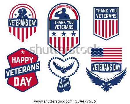 Set of Veterans Day labels,stamps and design element. Happy Veterans Day. Vector illustration. Thank You Day - stock vector