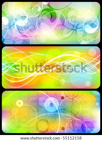 Set of vibrant abstract banners - stock vector