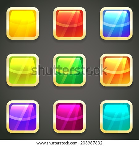 Set of vibrant bright glossy vector web buttons with gold metallic frames around a chamfered square shape with reflections in the colors of the spectrum or rainbow - stock vector