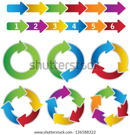 Set of vibrant circle diagrams and chart arrows. This image is a vector illustration. - stock vector