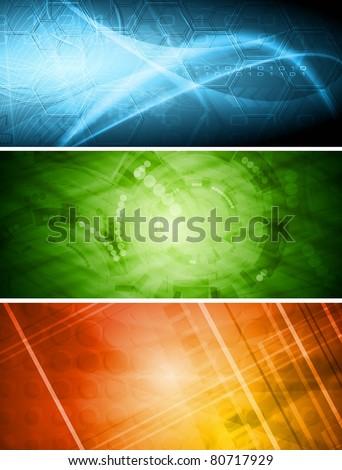 Set of vibrant hi-tech banners. Vector eps 10 - stock vector