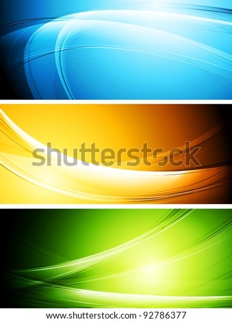 Set of vibrant waves banners. Eps 10 vector - stock vector