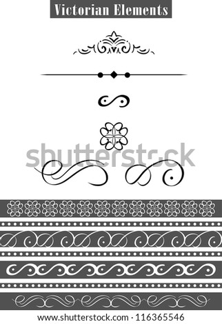set of victorian elements for design - stock vector
