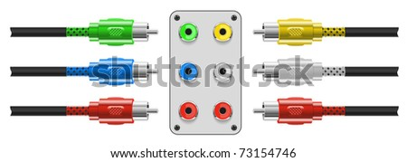 Set of Video and audio connectors. Vector Illustration. EPS8 - stock vector