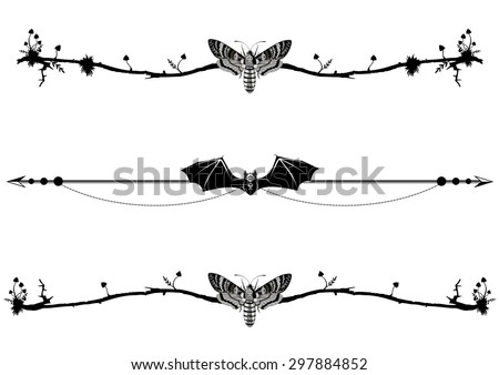 set of vignettes with bat, butterfly death head and mushrooms - stock vector