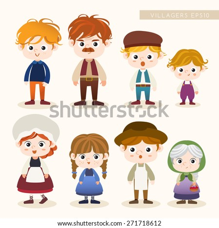 Set of Villager characters : Vector Illustration